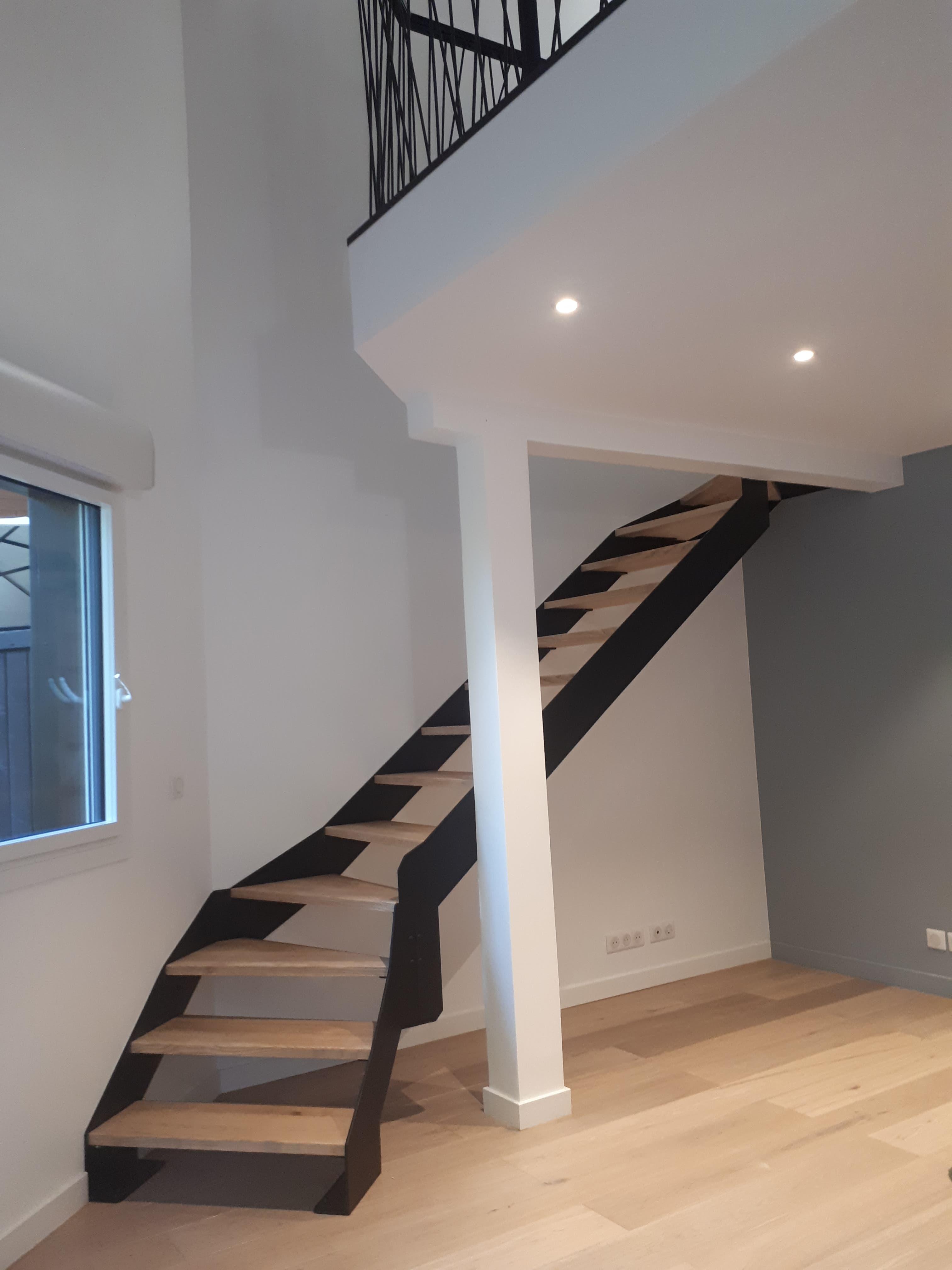 Escalier acier bois double quart tournant ROBI Annecy (74)3