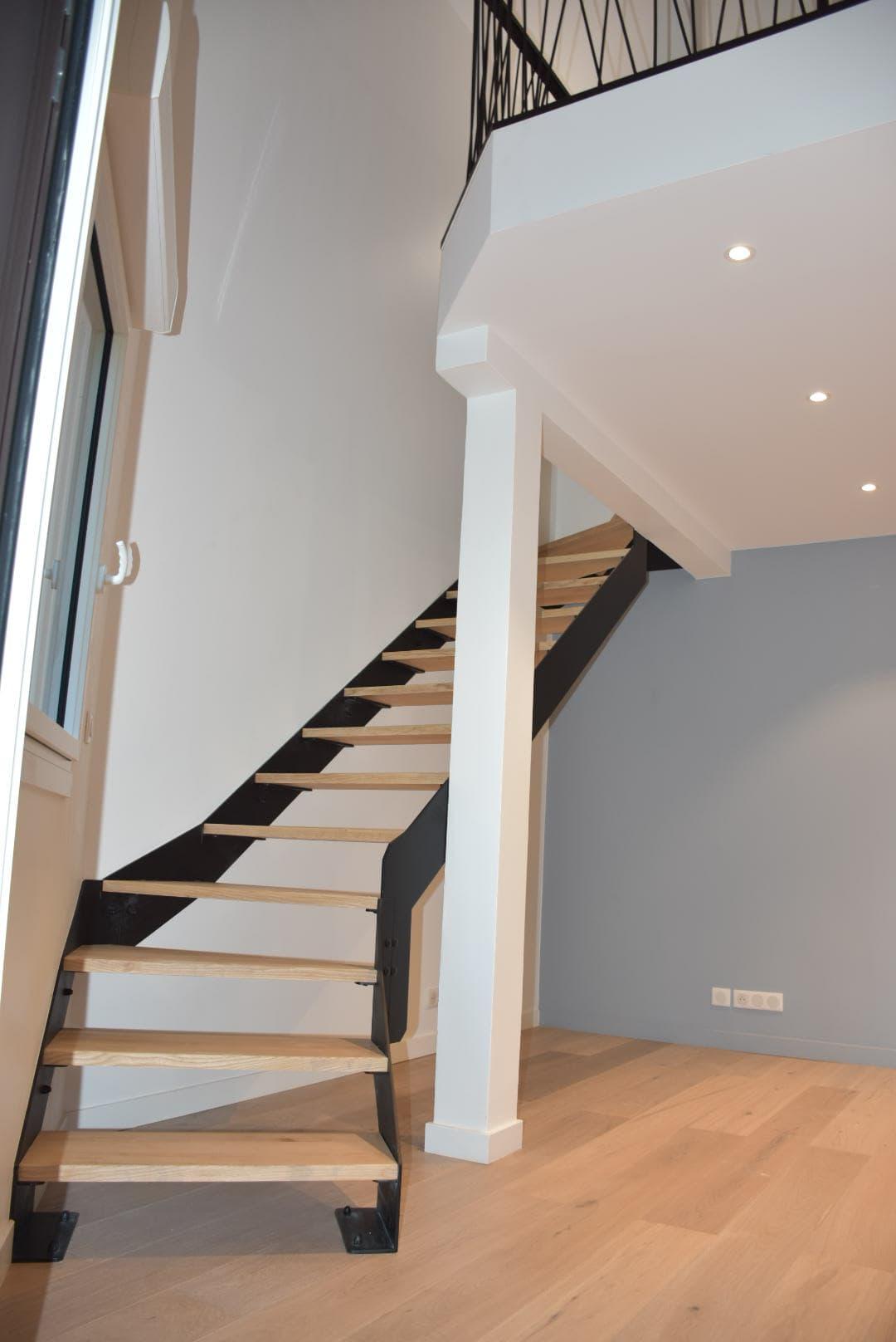 Escalier acier bois double quart tournant ROBI Annecy (74)5