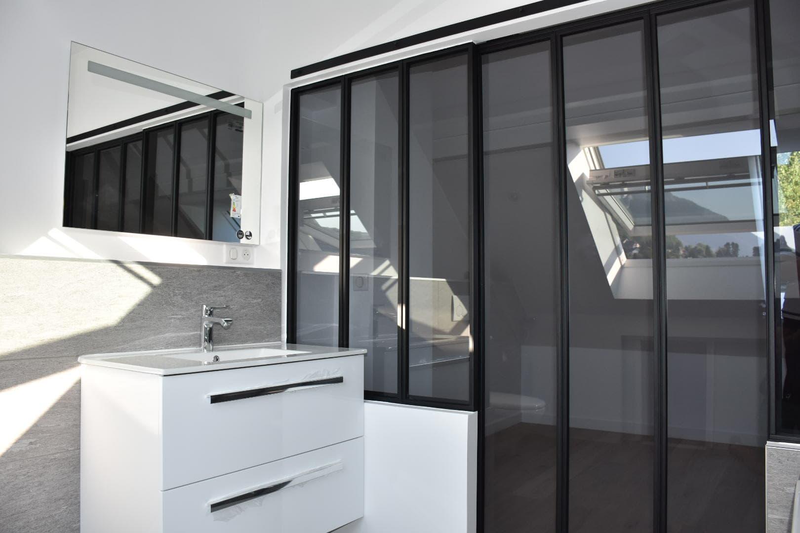 Verrière de salle de bain + porte coulissante ROBI Annecy (74)7